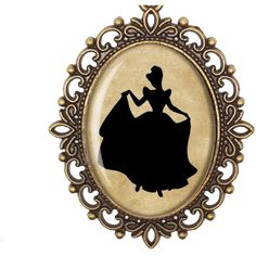 Cinderella Disney Princess Silhouette Fairytale Victorian Cameo Large... (€18) ❤ liked on Polyvore featuring jewelry, necklaces, silver charm necklace, antique necklaces, silver charms, silver necklace and bronze chain necklace