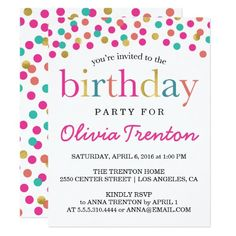 432 best colorful birthday party invitations images in 2018