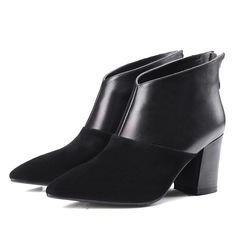 Boots - Black mixed colors pointed toe ankle boots @shoesofexception #boots #dapper