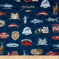 Kaufman Old Guys Rule Collage Navy from @fabricdotcom  From Robert Kaufman, this cotton print fabric features all sorts of fish and a few guys out on the boats fishing. Perfect for quilting apparel and home decor accents. Colors include tan, white, black, shades of brown and blue, red and coral.