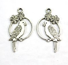 Silver Parrot Charms. (6) Large Silver Bird Charms for DYI Jewelry Making. Silver Macaw Charms. Silver Cockatoo Charms. Conure Charm 25mm