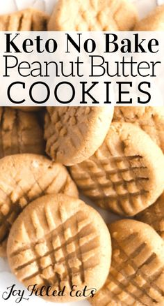 Peanut Butter No Bake Cookies are an easy treat for the whole family! Just 4 ingredients & 10 minutes to a plate of keto no bake cookies everyone will love! Classic Peanut Butter Cookies, Peanut Butter No Bake, Healthy Peanut Butter, Healthy No Bake, Keto Cookies, Healthy Cookies, No Bake Cookies, Baking Cookies, Chip Cookies