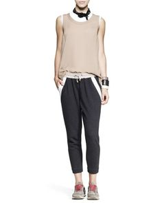 -4RMX Brunello Cucinelli Sleeveless Cylinder Top, Fitted Cotton Top, Cropped Spa Pants, Necklace & Cuffs