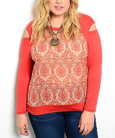 Love this Rust & Beige Damask Cutout Raglan Top - Plus on #zulily! #zulilyfinds