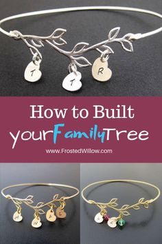 Family Tree Bracelet Gifts, Great Gift Idea for Mom, Mother's Day gifts, Family Tree Jewelry, Family Tree Bracelet Best Mothers Day Gifts, Gifts For Mom, Jewelry Tree, Nice Jewelry, Mom And Sister, Bangle Bracelets With Charms, Personalized Bracelets, Jewelry Making Supplies, Jewelry Collection
