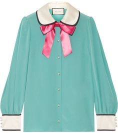 6981e90eef102 Gucci Bow-embellished Satin-trimmed Silk Crepe De Chine Blouse - Jade Bow  Shirts