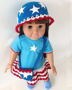 "Watch us review this adorable Little Miss Liberty 18"" Doll T-Shirt Dress, Hat & Purse Crochet Pattern! An Original Design By: Maggie WeldonSkill Level: Easy"
