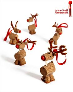 A herd of cork reindeer kids crafts Easy Christmas Crafts, Noel Christmas, Simple Christmas, Christmas Projects, Winter Christmas, Christmas Decorations, Christmas Ornaments, Reindeer Ornaments, Reindeer Craft