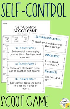 emotional control This Self-Control SCOOT GAME is a great way to get students up and moving! Students will learn to define self-control, identify self-control strategies and how to u Elementary School Counselor, School Counseling, Elementary Schools, Counseling Activities, Group Activities, Leadership Activities, Therapy Activities, Coping Skills, Social Skills