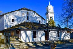 Church and Plateia, Milies, Pelion, Greece. JR