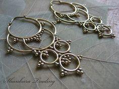 Tribal Brass Earrings Hoop Earrings Tribal by ShankaraTrading