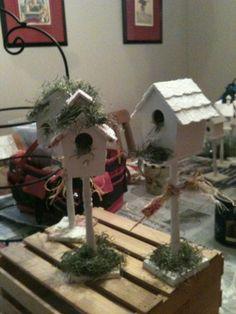 DIY shabby chic birdhouses
