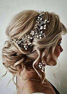 FXmimior Bride Hair Accessories Crystal Hair Vine Earrings Sets Headband Wedding #beautifulweddinghairstyles