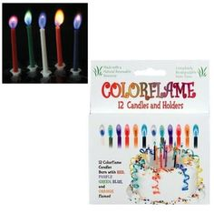 Colorflame Birthday Candles with Colored Flames (12 per box) by Joelson Industries, http://www.amazon.com/dp/B000RXPU0U/ref=cm_sw_r_pi_dp_-MZhrb1SEX1HQ