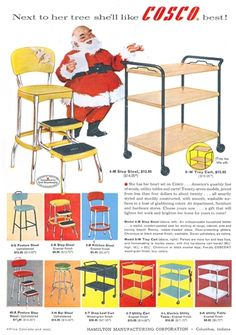 Cosco stepstool and kitchen cart vintage Christmas ad with Santa, 1956.  1950s