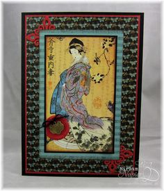 Geisha card made with G45 Bird Song paper.