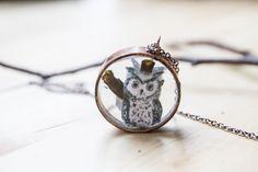 Owl necklace owl art owl jewelry bird jewelry bird by GarciaDesign, $25.00