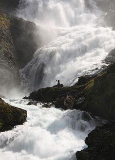 """""""Taken at Kjosfossen Waterfall on the train journey from Myrdal to Flåm, Norway."""