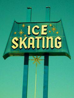Vintage Neon Sign- Ice Skating Rink, Culver City (Los Angeles area), California