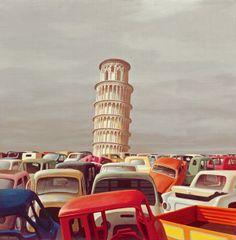'Motor Dump Pisa II' (1971) by Australian artist Jeffrey Smart (1921-2013). via Art Nomad
