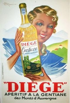 Diege Aperitif by Le Monnier 1930s France. French wine and spirits poster features a blonde woman in blue holding up a bottle of liquor with a hilly landscape behind her. Original Antique Posters.