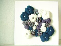 Framed wall art fabric flower 3D design home decor  teal by mapano, $29.00