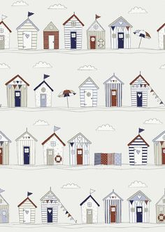 Fryetts Beach Huts Seaside 100% Cotton Curtains Crafting Fabric - Pink or Blue | eBay