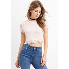 Forever 21 Forever 21 Women's  Sequined Eyelash Lace Crop Top (€18) ❤ liked on Polyvore featuring tops, forever 21, pink crop top, pink top, forever 21 tops and sequin top