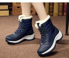Costbuys Women Boots Non-Slip Waterproof Winter Ankle Snow Boots Women Platform Winter Shoes With Thick Botas Mujer Women's Boots Wedge Heel Boots, Lace Up Ankle Boots, Knee High Boots, Cute Snow Boots, Snow Boots Women, Winter Fashion Boots, Winter Boots, Lace Up Wedges, Designer Boots