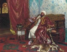 rudolf ernst  paintings | Royal Attendant in a Palace Interior - Rudolph Ernst…