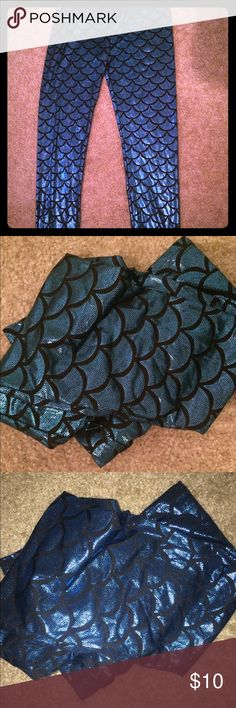 Blue Mermaid Scale Leggings Shiny blue mermaid tights. Never worn. Pants Leggings