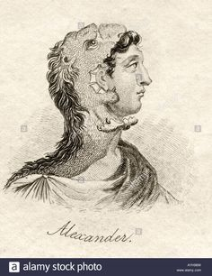 Alexander the Great 356BC 323BC Ancient Greek King of Macedonia From the book Crabbs Historical Dictionary published 1825 Stock Photo