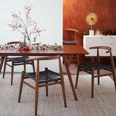 Mid-Century Expandable Dining Table | West Elm (and white buffet)