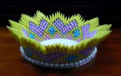 3D Origami - Flowery Bowl | PaperCraftCentral.