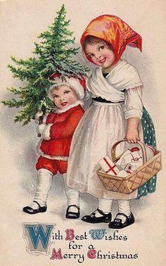 Old christmas postcard Vintage Christmas Images, Old Christmas, Old Fashioned Christmas, Christmas Scenes, Victorian Christmas, Retro Christmas, Christmas Pictures, Xmas, Christmas Crafts