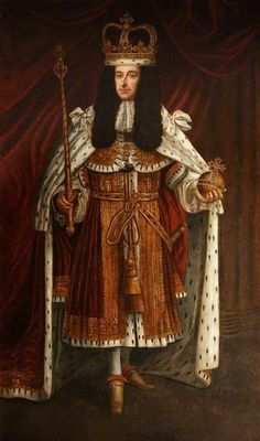 William III (1650–1702) This portrait shows the King in his Parliament robes & wearing St. Edward's crown. William was a very short man & the artist has diminished the size of the crown to bolster his dignity .The King's funeral effigy is set on a box as he was a full head shorter than his wife, Queen Mary II.