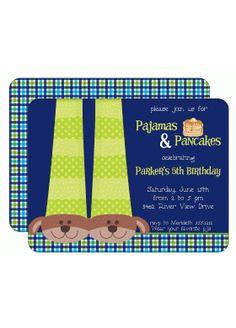Pancakes & PJ's Birthday Party Invitation | Kids Birthday Invitations | Childrens Invitations | Girls Party Invitations | pajamas pancakes sleepover pink | KBI395