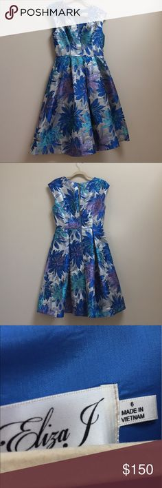 STUNNING Eliza J Metallic floral vtg style dress Lovely Eliza J dress!! I'm a dress and skirt junkie and have more than I'd care to admit. Letting some of the collection go to try and simplify my closet a bit! Excellent condition 💕 Eliza J Dresses Midi