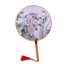 2PCS Elegant Round Hand Fan Chinese Fan Print Decor Bamboo Handle, No.2