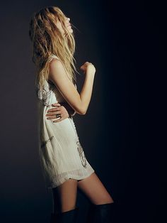 Free People All in a Row Beaded Shift Dress at Free People Clothing Boutique