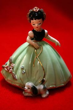 Josef Originals Figurine Girl Walking her Puppy