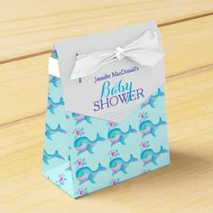Baby shower whales aqua white gift favor box. Watercolor art and design by www.sarahtrett.com