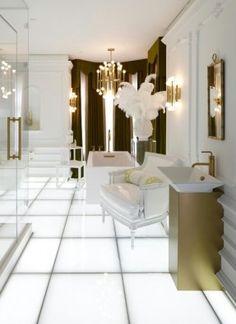 §white gold backlit floor hollywood glam bathroom-interior design jonathan adler for kohler
