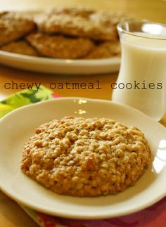 Chewy oatmeal cookies! I wanted to find a cookie recipe made up of ingredients I already had. These are really basic and really tasty. There is no oven temp listed but I did mine on 450 for 10 minutes.