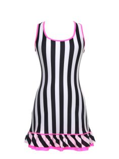 Vestido riscas p&b vivo e folho rosa (frente). www.modaypadel.com #padel #modapadel #padelfemenino