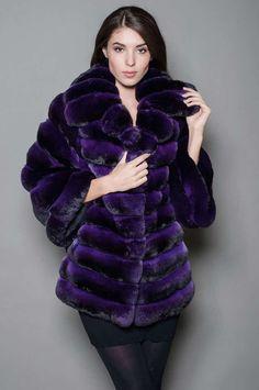blue-dyed chinchilla fur coat