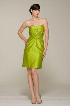 Sweetheart neckline strapless bridesmaid dress with twist knot detail at waist.