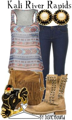Disney inspired clothing by DisneyBound. Kali River Rapids. Geometric tank. Skinny jeans. Studded boots.
