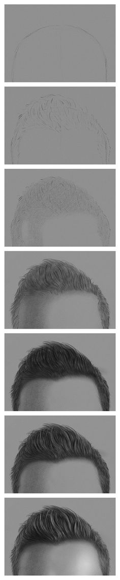 Drawing the Hair with Charcoal and Chalk – Steps 1-7