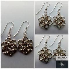 "Sterling Silver ""Daisy"" Earring #JapaneseDaisy #GiftForHer #Japanese12In2 #SilverEarring #ExclusiveSett #ChainmailleJewelry #HandmadeInNorway #JewelrySet #AnniversaryGift #MatchingSet Daisy Bracelet, Daisy Ring, Anniversary Gifts, Silver Earrings, Jewelry Making, Jewels, Sterling Silver, Unique Jewelry, Bracelets"